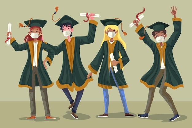 Grupo de estudantes comemorando sua formatura ilustrada Vetor grátis
