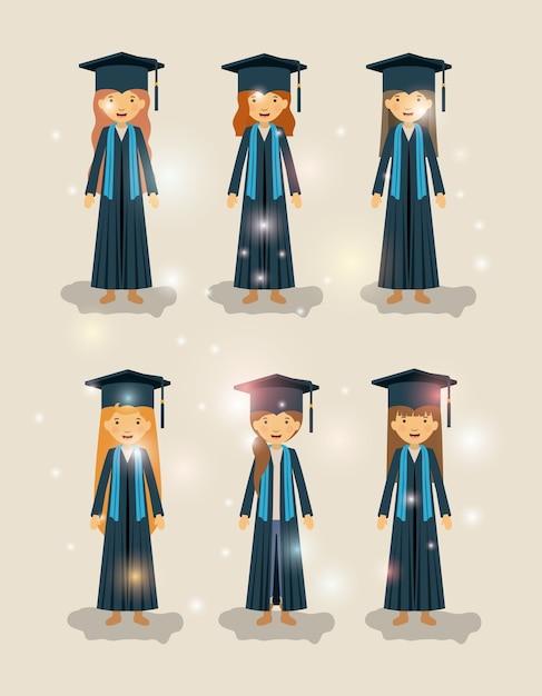 Grupo de estudantes do sexo feminino graduados caracteres Vetor Premium