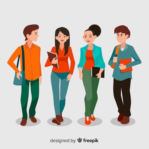 Grupo de estudantes felizes com design plano Vetor grátis