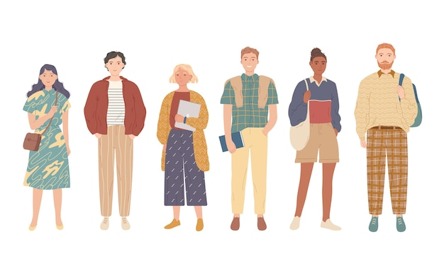 Grupo de estudantes. jovens com roupas casuais. Vetor Premium