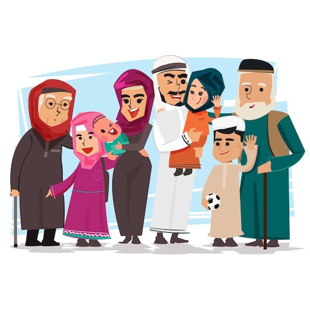 Grupo de família muçulmana - ilustração vetorial Vetor Premium