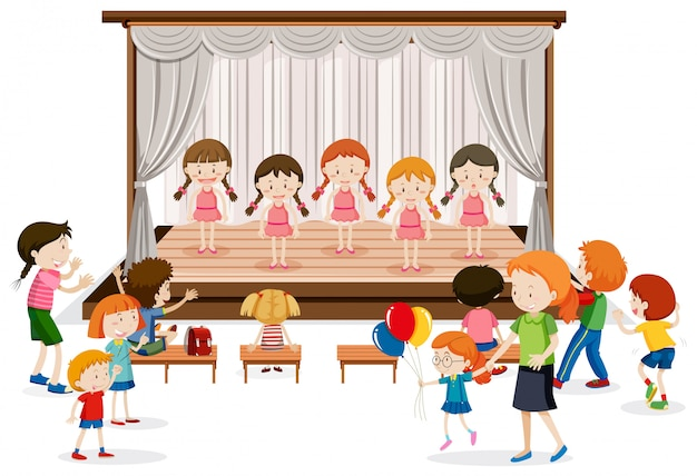 Grupo de garota show no palco Vetor grátis