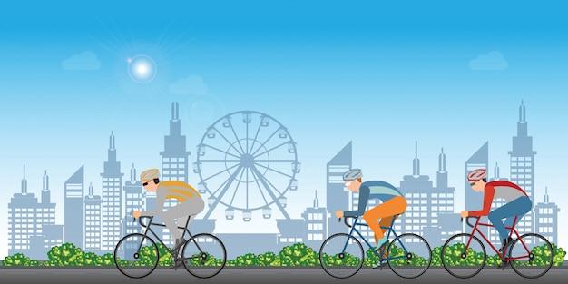 Grupo de homem de ciclistas em bicicleta de estrada que compete no fundo da opinião da cidade. Vetor Premium