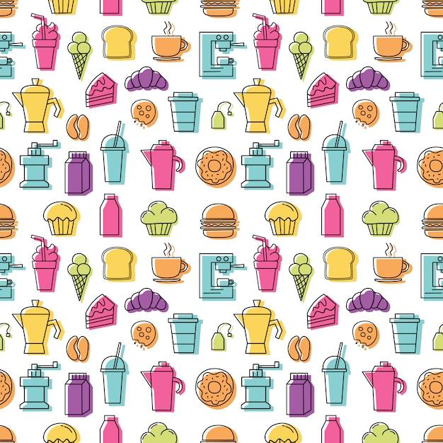 Grupo de ícones coloridos lineares para o teste padrão da cafetaria sem emenda com fundo branco. Vetor Premium
