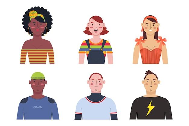 Grupo de ícones de pessoas Vetor grátis