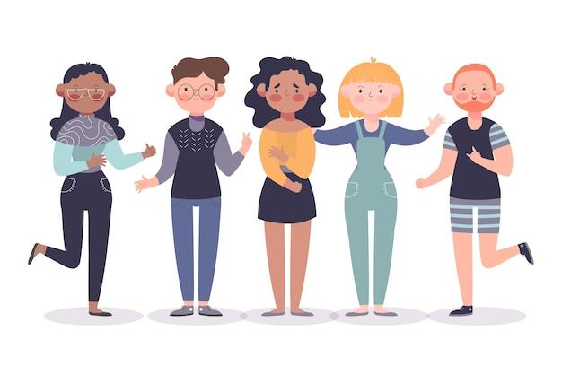 Grupo de ilustração de amigos Vetor grátis