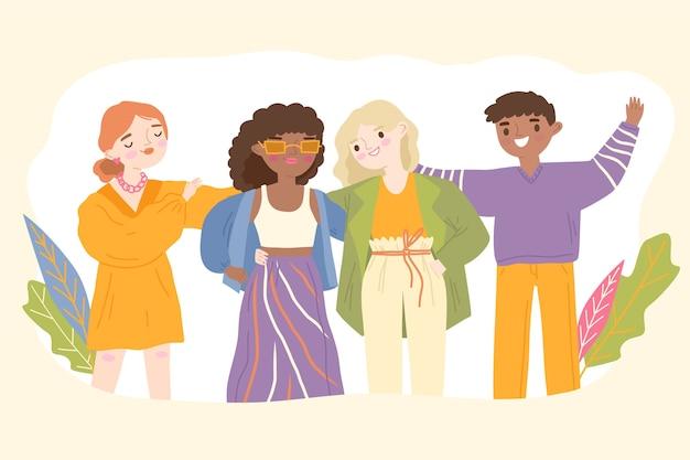 Grupo de ilustração de jovens Vetor grátis
