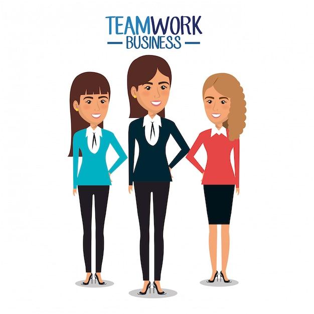 Grupo de ilustração de trabalho em equipe de mulheres de negócios Vetor grátis