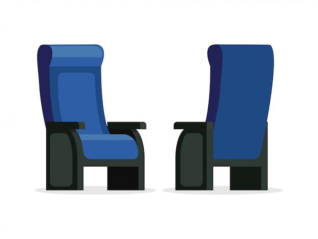 Grupo de ilustração dianteira e traseira da opinião da cadeira confortável azul do vetor. assentos vazios isolados no fundo branco Vetor Premium