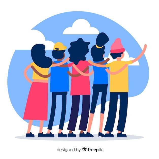 Grupo de jovens abraçando juntos Vetor grátis