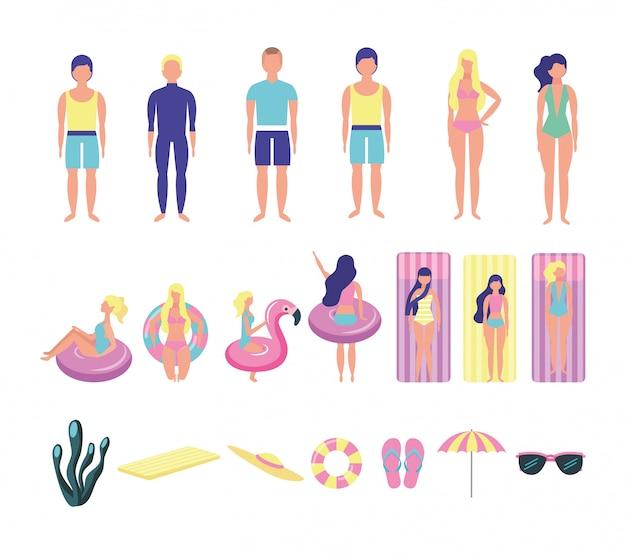 Grupo de jovens com trajes de praia agrupar caracteres Vetor grátis