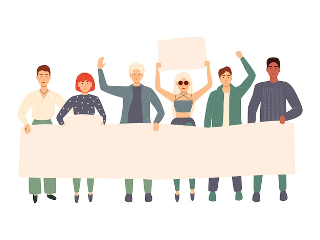 Grupo de jovens, homens e mulheres juntos e segurando a bandeira em branco. pessoas participando de desfile ou comício. manifestantes ou ativistas masculinos e femininos. ilustração colorida dos desenhos animados plana Vetor Premium