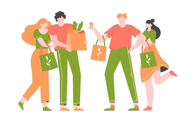 Grupo de jovens, millenials estão comprando em uma loja sem plástico. Vetor Premium