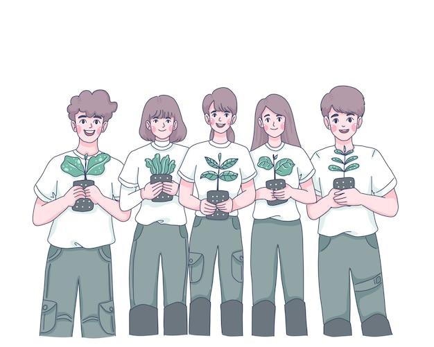 Grupo de jovens plantando árvores ilustração de personagem de desenho animado Vetor Premium