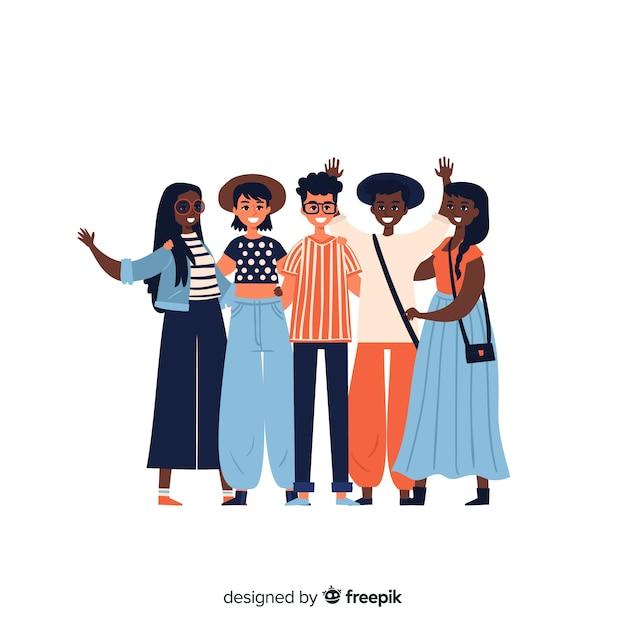 Grupo de jovens posando para uma foto Vetor grátis
