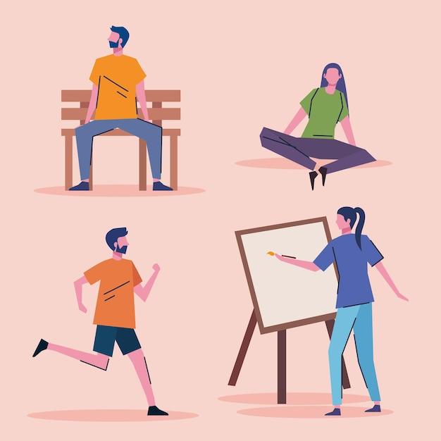 Grupo de jovens praticando atividades personagens desenho de ilustração vetorial Vetor Premium