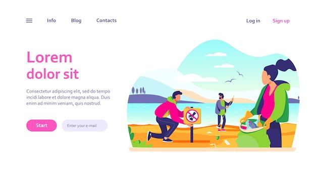 Grupo de jovens voluntários coletando lixo no modelo da web da praia do oceano. ecologia e conceito de planeta limpo Vetor grátis