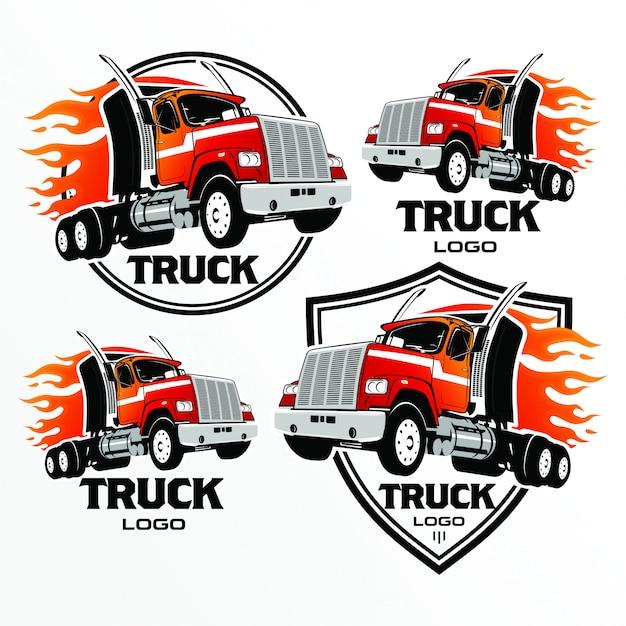 Grupo de logotipo do caminhão, emblemas e crachás, ilustração do vetor. Vetor Premium