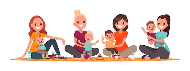 Grupo de mães com bebês. clube de jovens mães. mamãs estão sentadas com crianças Vetor Premium