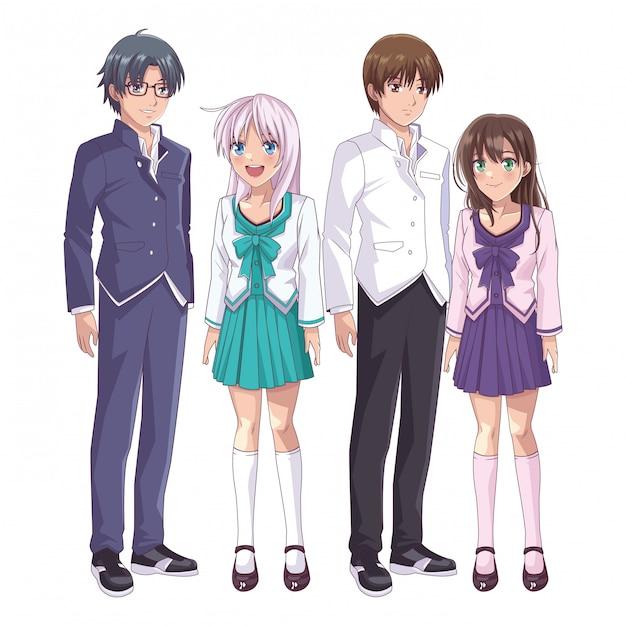 Grupo de mangá de anime Vetor Premium