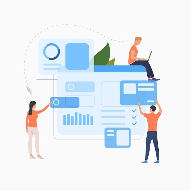 Grupo de marketing trabalhando no ícone plana de solução de negócios Vetor grátis