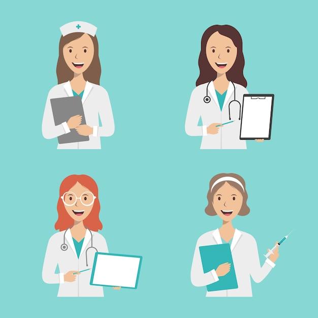 Grupo de médicas e enfermeiras em um fundo azul com logotipo Vetor Premium