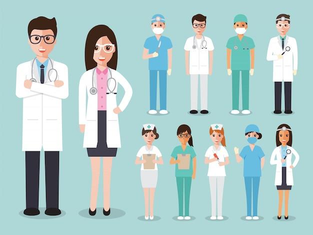 Grupo de médicos e enfermeiros e equipe médica Vetor Premium