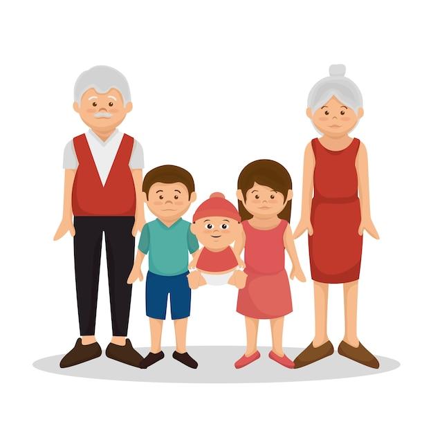 Grupo de membros da família personagens ilustração vetorial design Vetor Premium