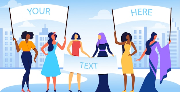 Grupo de meninas internacionais e inter-raciais diversificadas. Vetor Premium