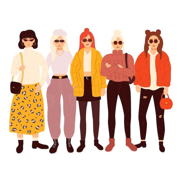 Grupo de mulheres adoráveis, vestidas com roupas da moda. ilustração. Vetor Premium