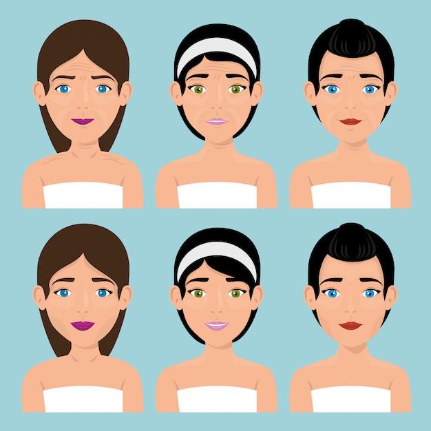Grupo de mulheres bonitas em tratamento facial Vetor grátis