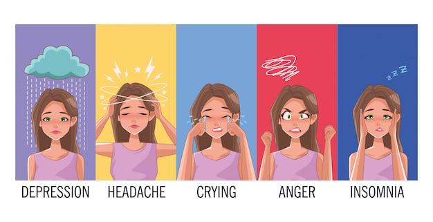 Grupo de mulheres com sintomas de estresse vector design ilustração Vetor Premium