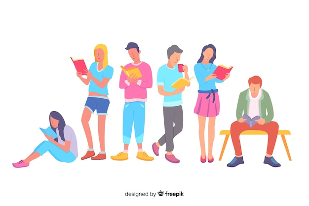 Grupo de mulheres e homens lendo ilustração Vetor grátis