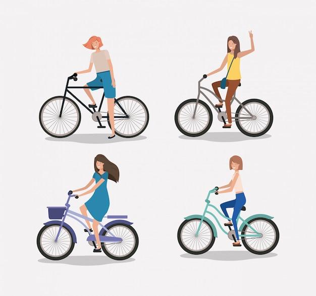 Grupo de mulheres em bicicleta Vetor Premium