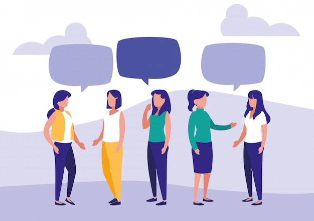 Grupo de mulheres falando de personagens Vetor Premium