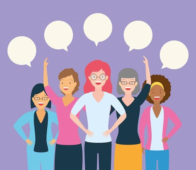 Grupo de mulheres falando Vetor grátis
