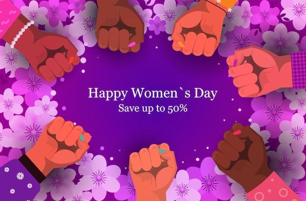 Grupo de mulheres levantando os punhos para banner de promoção do dia da mulher em 8 de março Vetor Premium