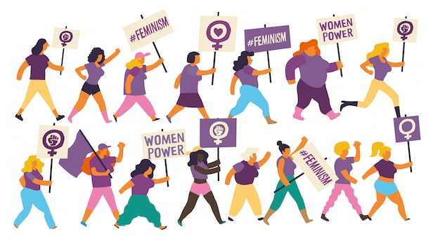 Grupo de mulheres marchando em uma manifestação para o dia internacional da mulher. mulheres feministas carregando bandeiras roxas e cartazes com mensagens feministas e de empoderamento. Vetor Premium