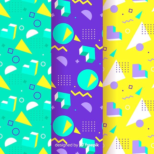 Grupo de padrão colorido de memphis Vetor grátis