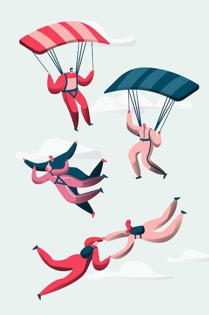 Grupo de para-quedistas voam entre as nuvens. Vetor Premium
