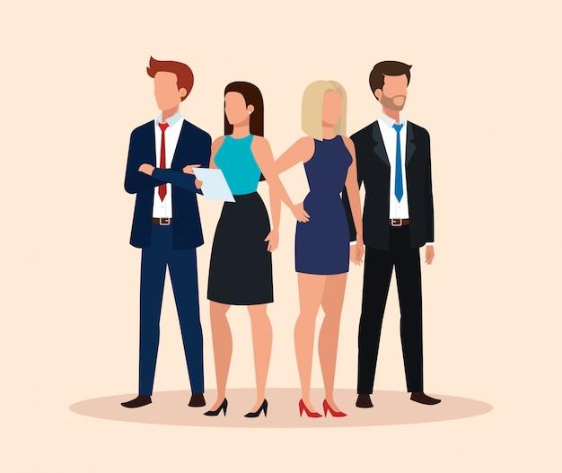 Grupo de personagem de avatar de pessoas de negócios Vetor grátis