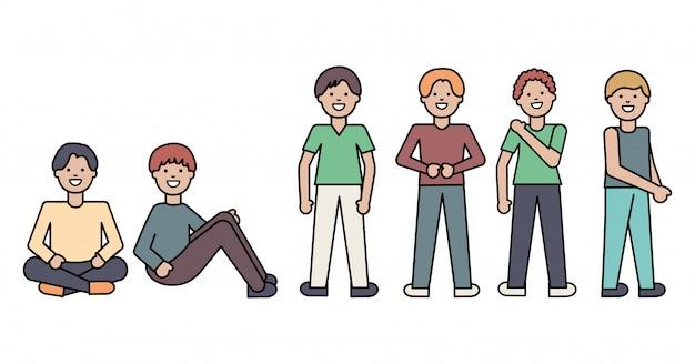 Grupo de personagens de avatares masculinos Vetor grátis