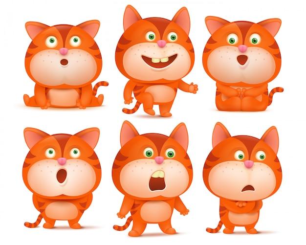 Grupo de personagens de banda desenhada alaranjados bonitos do gato em várias poses. Vetor Premium
