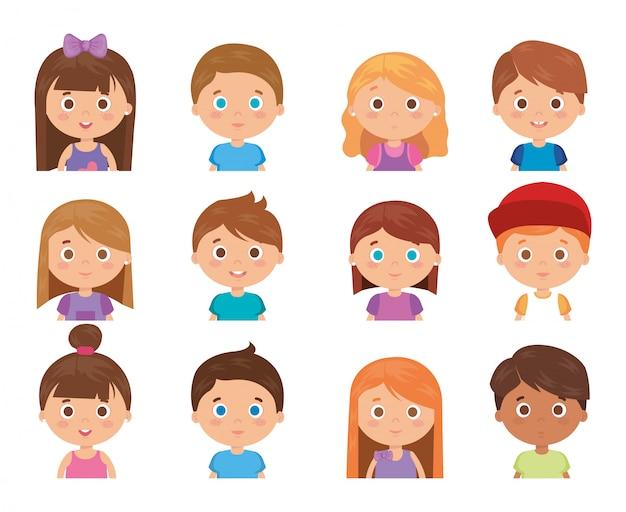 Grupo de personagens de crianças pequenas Vetor grátis