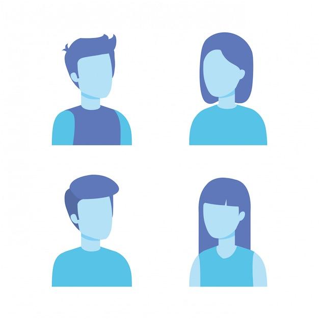 Grupo de personagens de jovens Vetor grátis