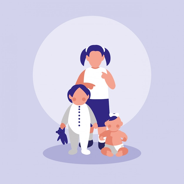 Grupo de personagens de meninas pequenas Vetor Premium