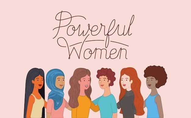 Grupo de personagens de mulheres com mensagem feminista Vetor Premium