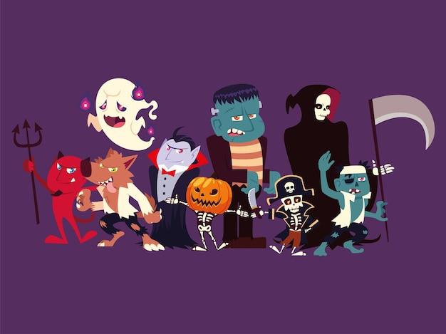 Grupo de personagens engraçados para hallowwen Vetor Premium