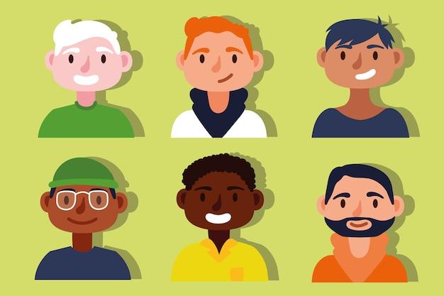 Grupo de personagens inter-raciais masculinos do conceito de inclusão Vetor Premium
