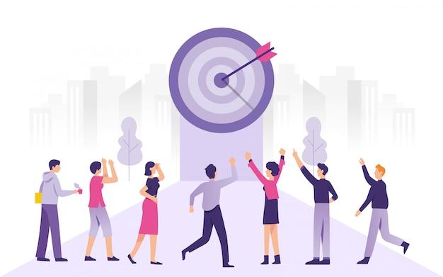 Grupo de pessoas celebra sua conquista nos negócios-alvo Vetor Premium